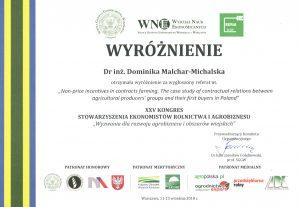 Wyróżnienie dla dr inż. Dominiki Malchar-Michalskiej