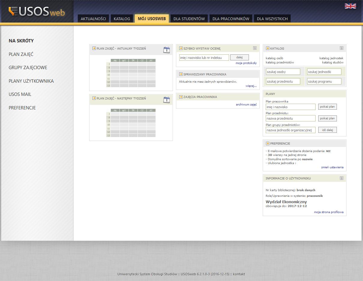 Aktualny grafik zajęć pracowników dostępny jest w USOSWeb